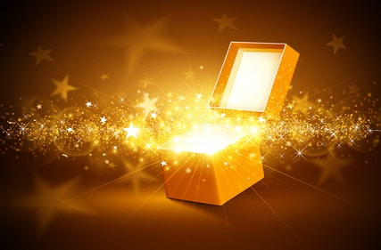 Christmas background with open golden box with stars and confetti
